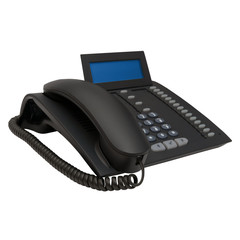 black office system phone with blue empty space display for your