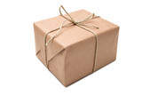 brown paper parcel tied with string