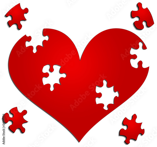 Heart with missing jigsaw/puzzle pieces