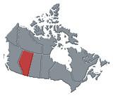 mapa z kanady, alberta zvýrazněny