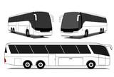 Coach buses vector poster