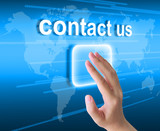 hand pushing contact us button on a touch screen interface