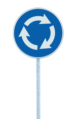 Roundabout crossroad road traffic sign isolated blue arrows left