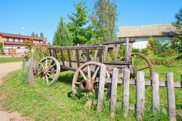 Old cart on the farm roadside