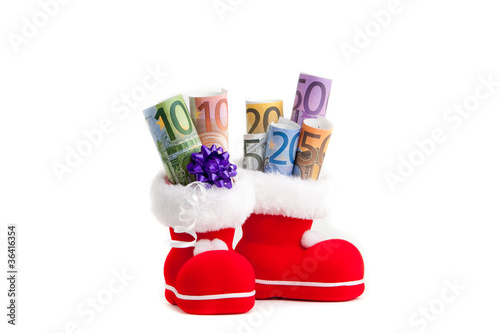 Euro in boot of Santa Claus on white background