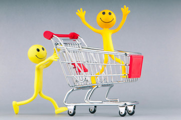 Shopping cart and happy smilies