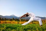 Yoga warrior pose in mountains