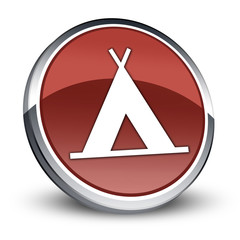"Red 3D Style Icon ""Camping Symbol"""