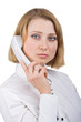 Business woman with a telephone receiver