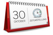 Kalender rot 30 Oktober Zeitumstellung Uhr 2