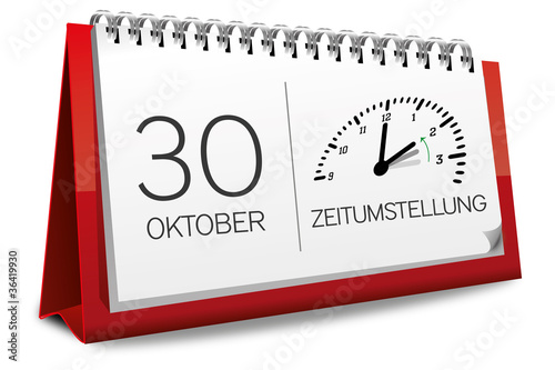 Kalender rot 30 Oktober Zeitumstellung Uhr