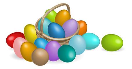 Pinted eggs basket illustration