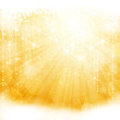Abstract golden sparkling light burst with stars