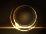 Fototapety Golden glowing round frame for your text