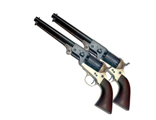 two identical old metal colt