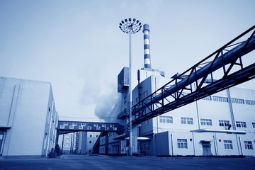 building and mechanical equipment in a paper mill factory