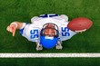 Overhead American football player touchdown celebration