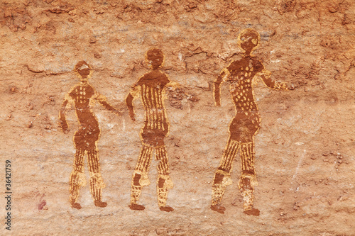 Papiers peints Algérie Rock paintings of Tassili N'Ajjer, Algeria