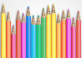 Group of pencils representing a social network.
