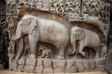 Arjuna's Penance - Descent of the Ganges,Mahabalipuram, India