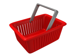 empty red plastic shopping market basket