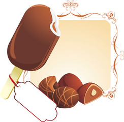 Chocolate ice cream and candies