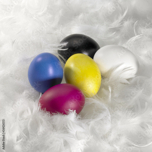 Easter eggs and down feathers