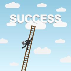 Businessman climbing ladder to Success. Vector illustration.