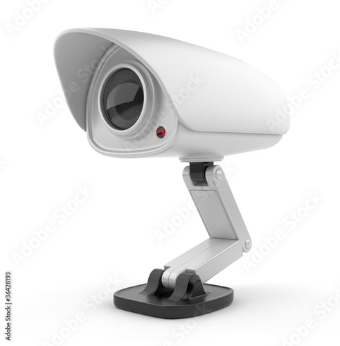 Security white camera surveillance 3D.  Safety concept. Isolated