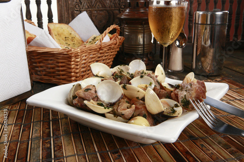 Traditional Portuguese pork & clams or Porco a Alentejana