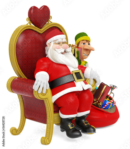 santa and elf and the gifts