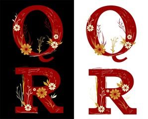 floral autum alphabet set letters Q - R