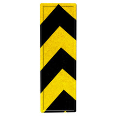 letters in black and yellow danger stripes