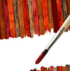 Brush and Wood Background with Copy Space