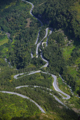 Road winding through the forested area, areal view
