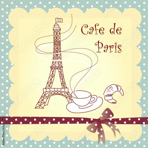 Spoed canvasdoek 2cm dik Doodle Cafe de Paris