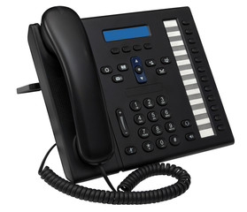 black office system IP phone with blue empty space display for y