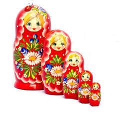Five red Babushkas