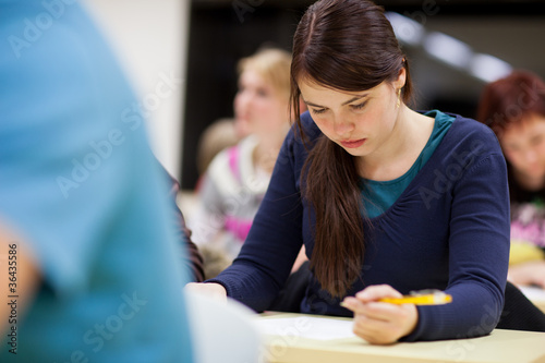 pretty, female college student sitting in a classroom