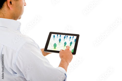 Smart businessman using electronic tablet on white background