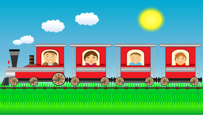 cheerful family moving in train with grass and sun