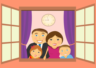 cheerful happy family in big open window