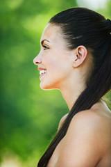 portrait charming bare woman profile