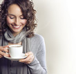 Beautiful Woman with cup of Tea or Coffee