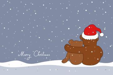 """""""Hab Dich lieb"""" Weihnachtskarte mit Teddybären"""