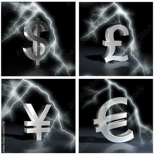 Financial crisis. currency sign