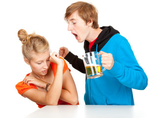 violence  - couple is arguing, drunk man striking girlfriend