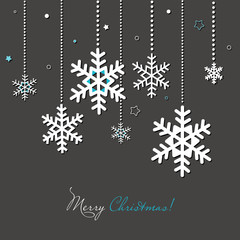 New year and Christmas card with snowflakes