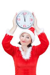 Beautiful girl holding Christmas hours.