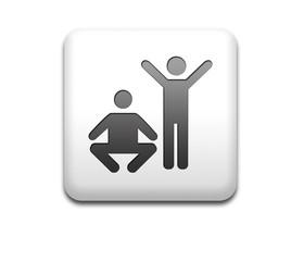 Boton cuadrado blanco simbolo gimnasia
